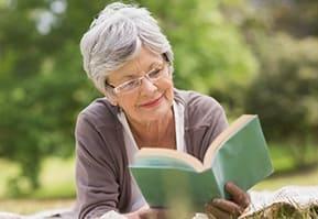 Resident reading at the senior living community in Salt Lake City