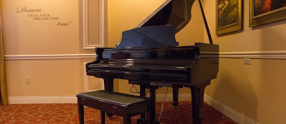 Piano at senior living in Feasterville Trevose.