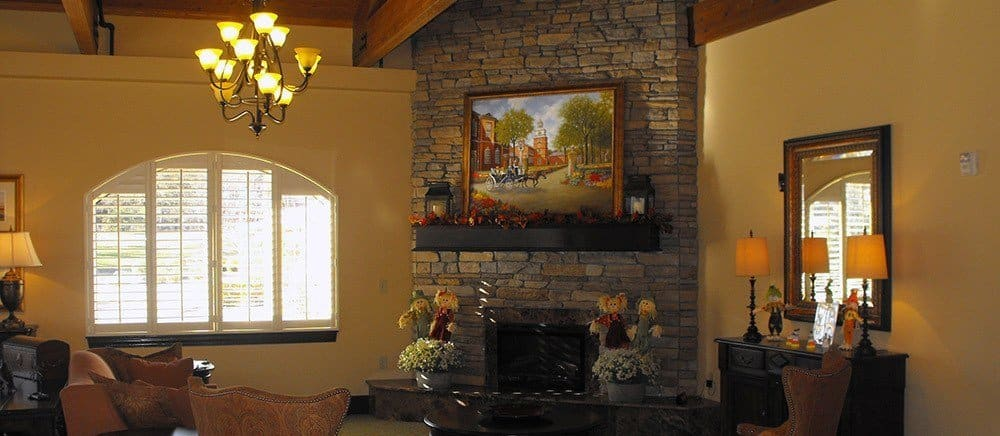 Fireplace den at senior living in Feasterville Trevose.