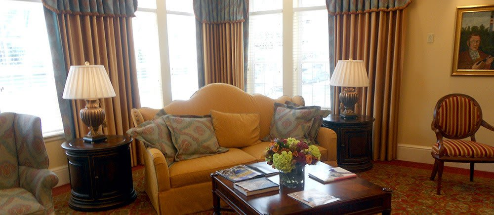 Cozy living room at senior living in Bala Cynwyd.