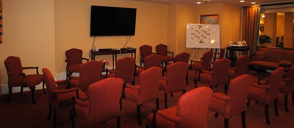 Senior living in Bala Cynwyd includes a movie room.