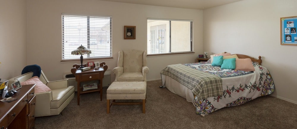 Cozy bedroom at senior living in Saint George