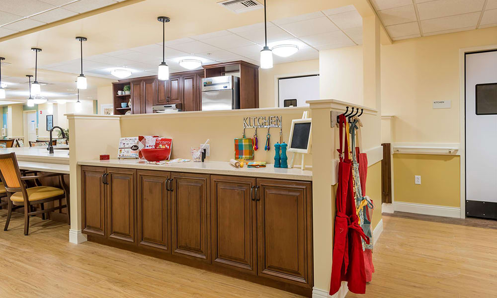 The community kitchen in the Memory Support Neighborhood at The Wentworth at the Meadows