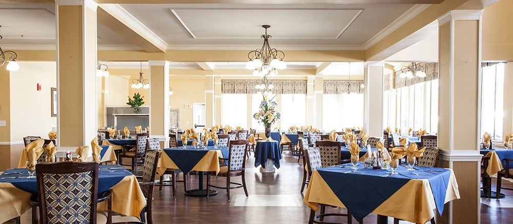 Elegant dining hall in Saint George senior living.