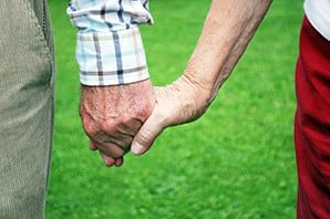 Residents holding hands at the senior living community in Saint George