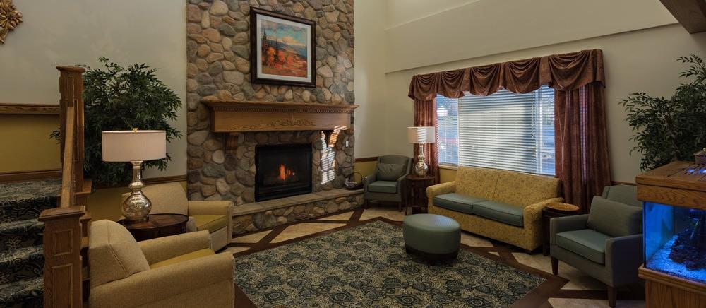 Fireplace den at senior living in Salt Lake City.
