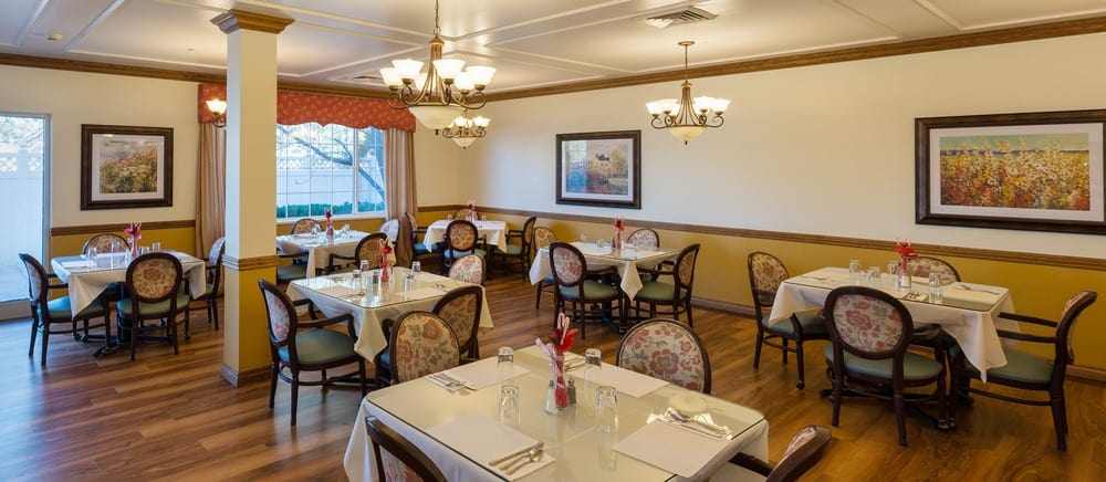 Salt Lake City senior living includes an elegant dining hall.
