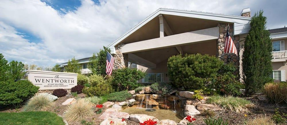 Welcoming entrance to senior living in Salt Lake City.