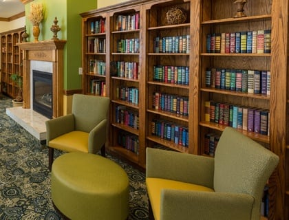 Senior living in Salt Lake City includes a library.