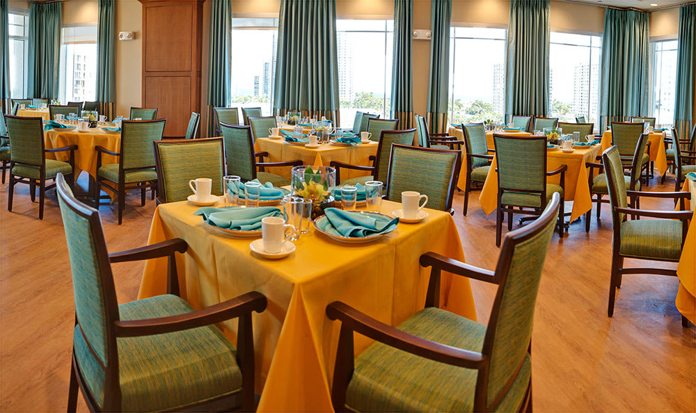 We offer delicious, chef-prepared meals each day at Symphony at the Waterways