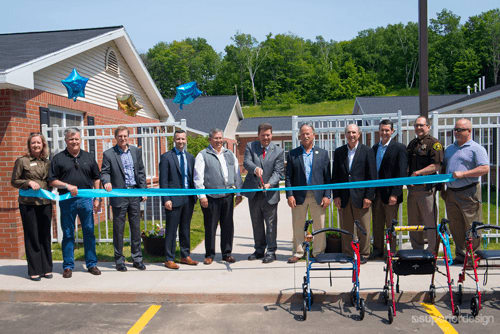 The ribbon cutting at Brookridge Heights's re-grand opening.