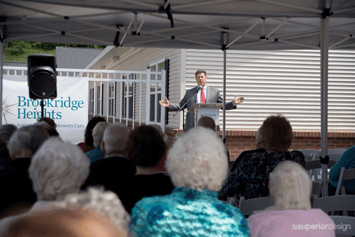 The audience at Brookridge Heights loves a speech.