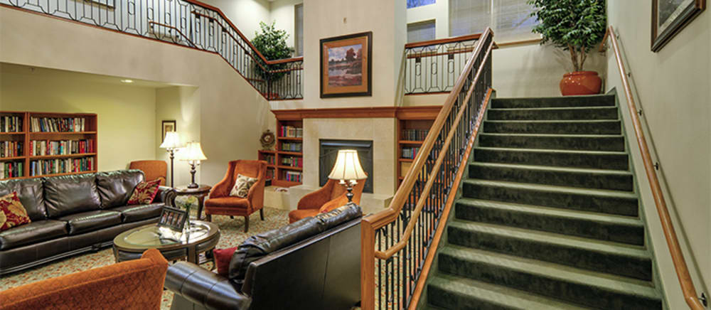 Elegant stairwell at senior living in Troutdale.