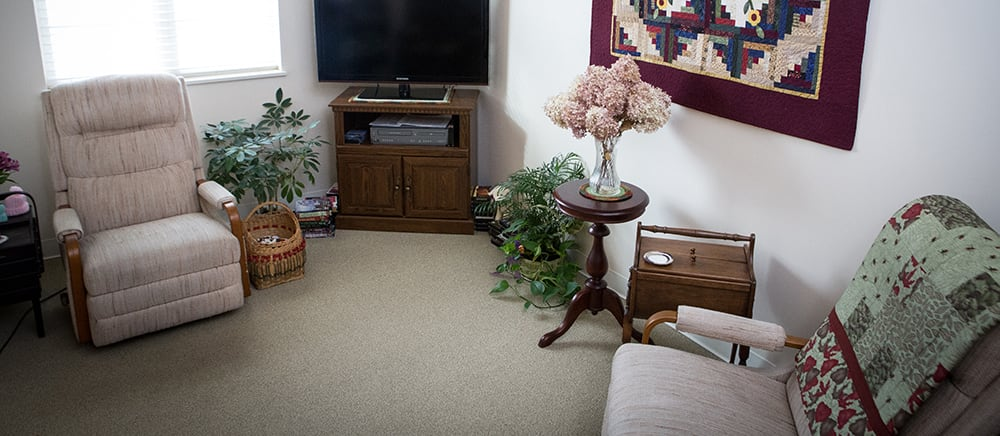 Cozy living room in senior living in Cadillac.