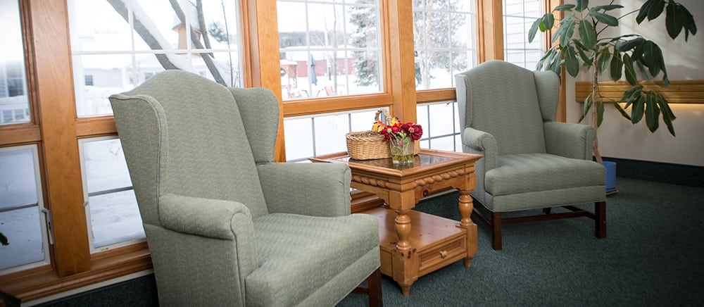Lounge at senior living in Cadillac.