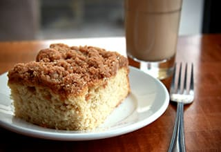 Yummy coffee cake served at Gardenview