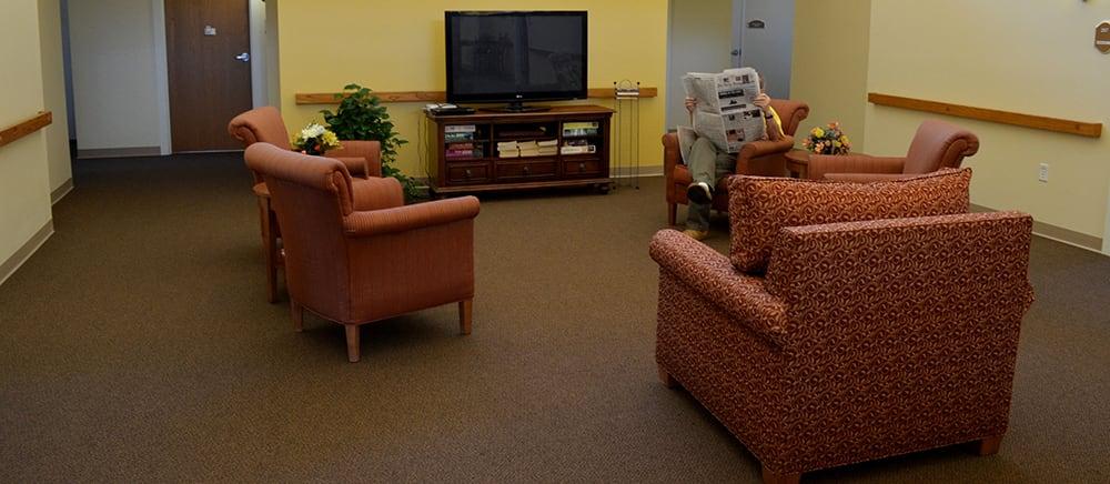 Inviting lobby at senior living in Calumet.