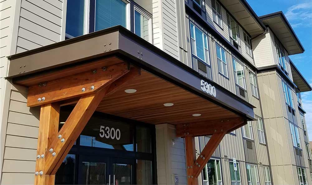 Front entrance to apartments in Vancouver