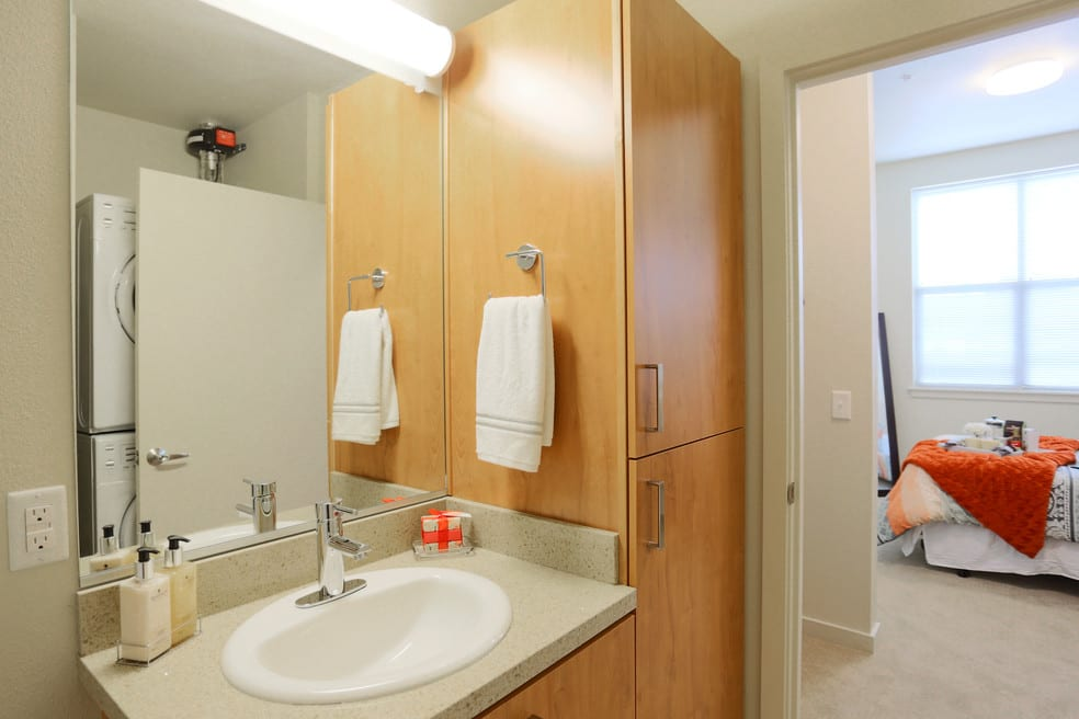 Private apartment bathroom at The Lofts at Glenwood Place