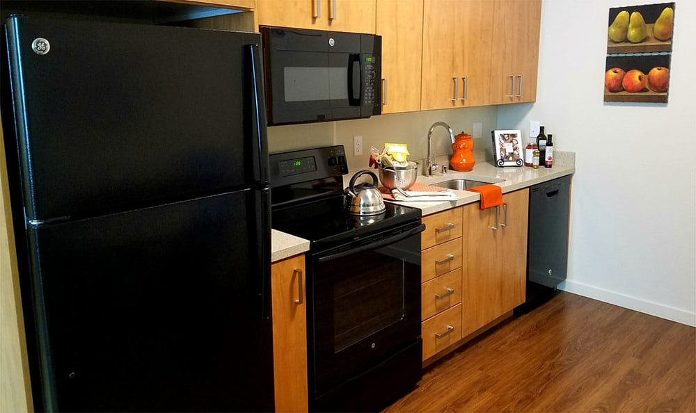 Hardwood floors in kitchen at The Lofts at Glenwood Place