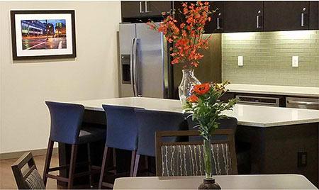 Kitchen and bar at The Lofts at Glenwood Place