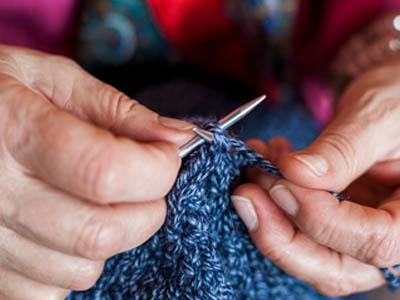 Knitting fun at Lighthouse Memory Care in Anacortes.