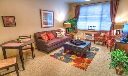 Living and dining room at senior living in Roanoke