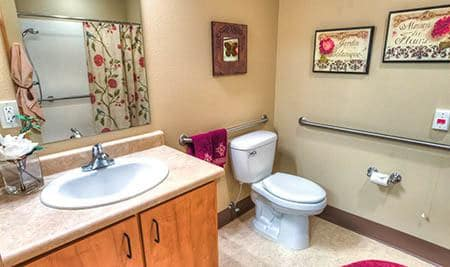 Spacious bathroom at The Quarry Senior Living