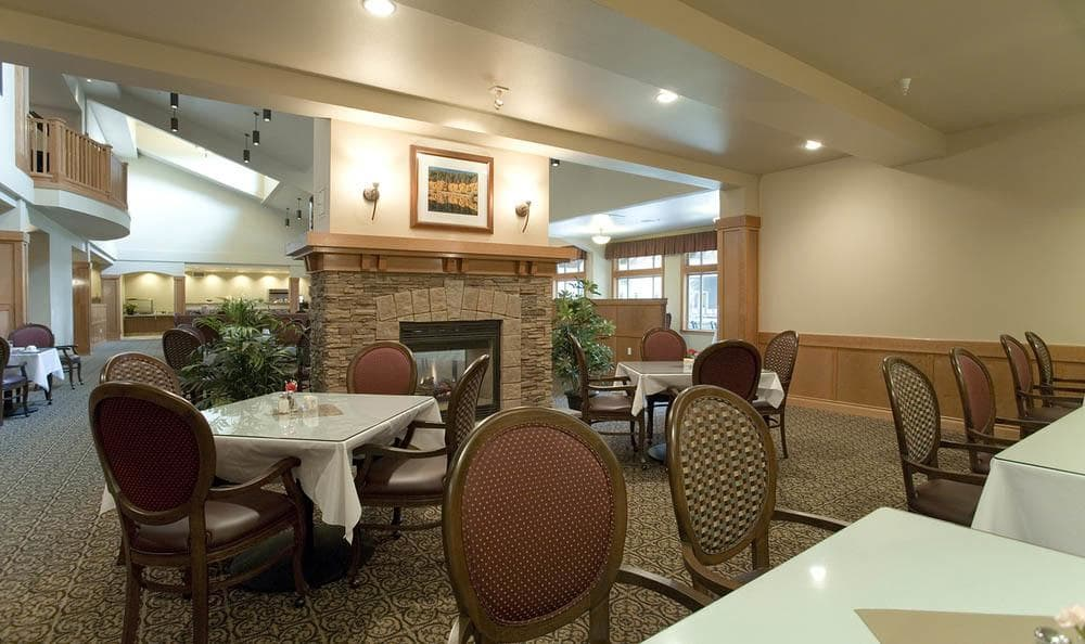 Large Community Dining Area At The Quarry Senior Living.