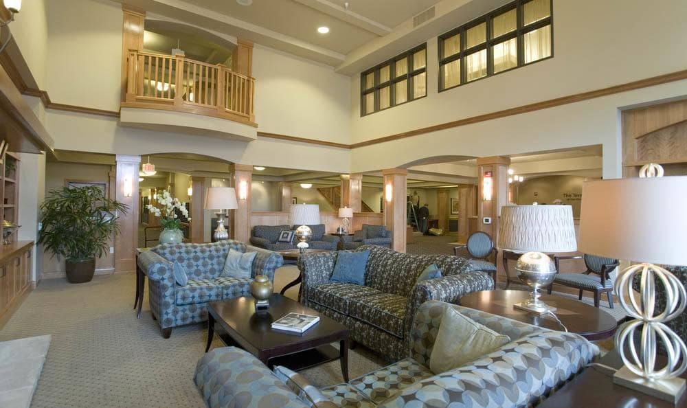 Large Couches And Lounge Area At The Quarry Senior Living in Vancouver.
