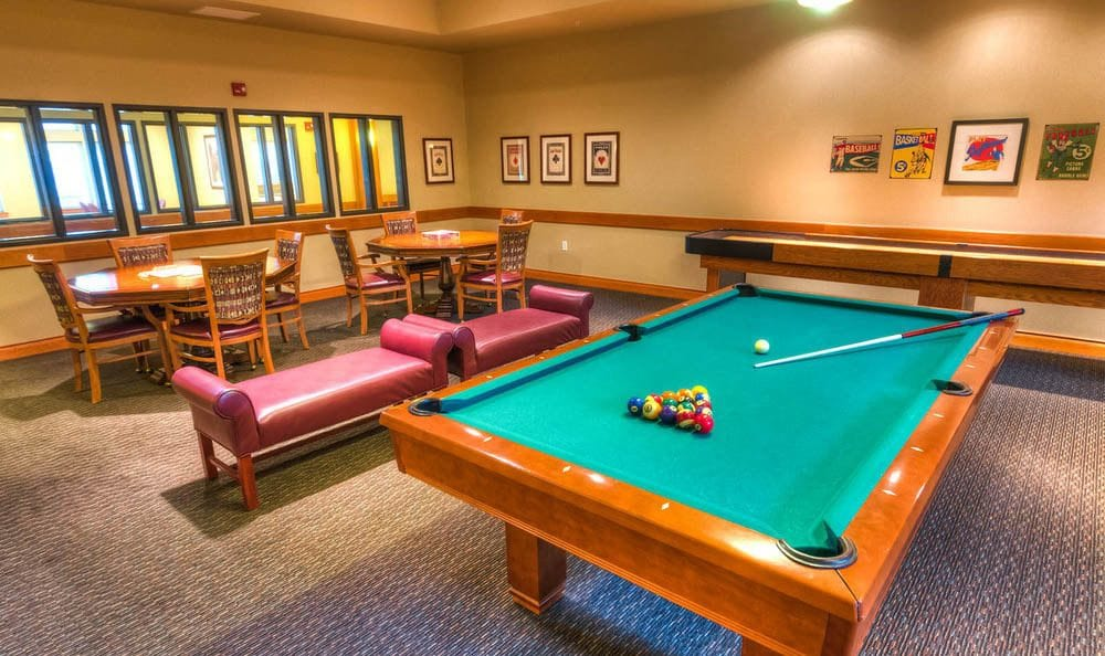Great pool table at The Quarry Senior Living in