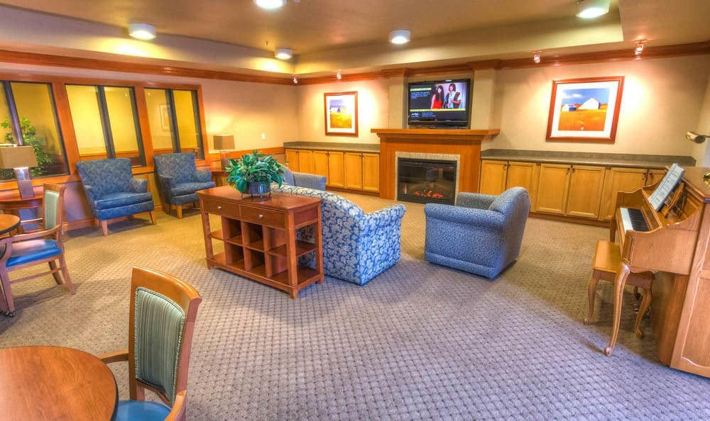 T.V. room in lodge at The Quarry Senior Living.