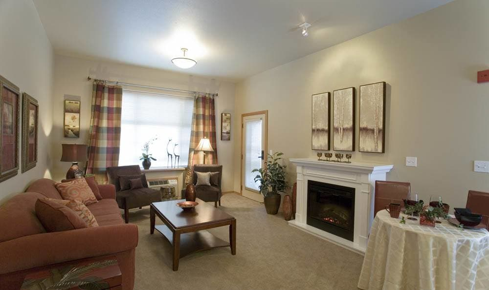 The Quarry Senior Living Fireplace in Vancouver.