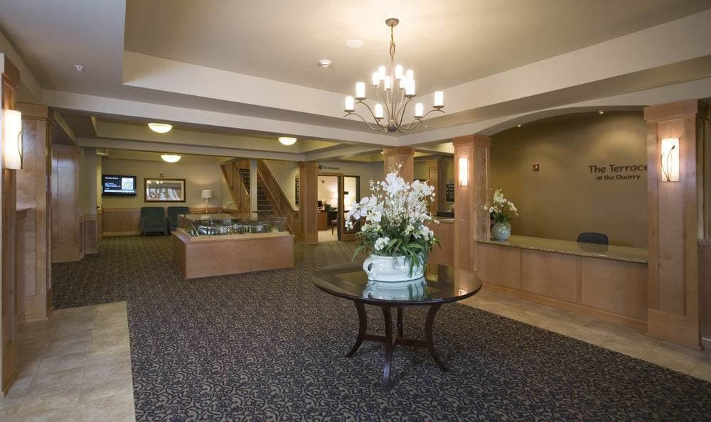 lobby at The Quarry Senior Living in Vancouver.