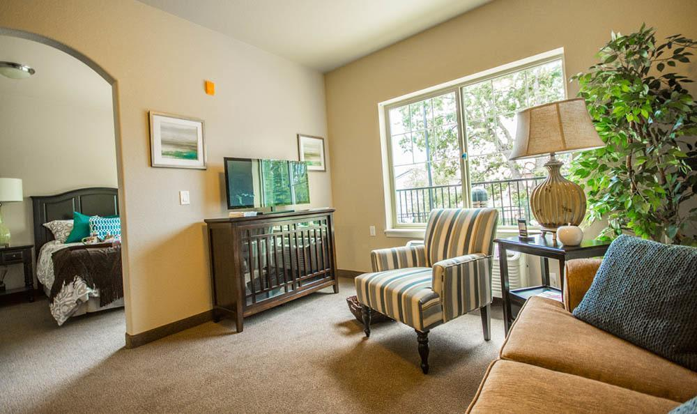 Living room and bedroom at Orangevale senior living