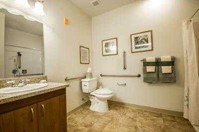 Full bath at Almond Heights Senior Living
