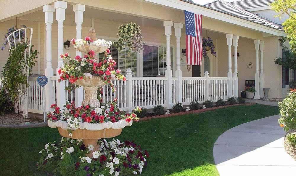 Courtyard with fountain at Arbor Rose Senior Care