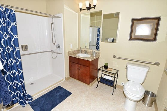 A private apartment bathroom at Caliche Senior Living in Casa Grande