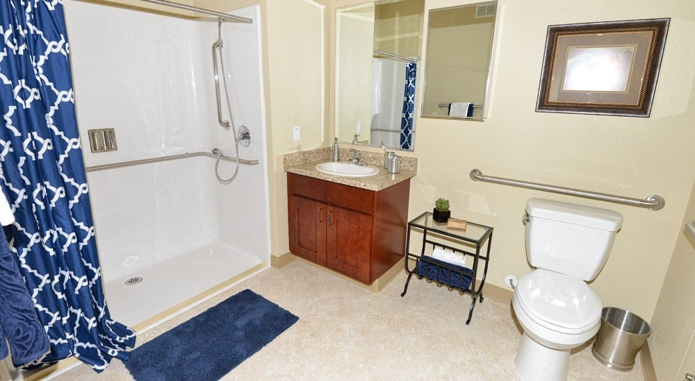 Apartment bathroom at Caliche Senior Living in Casa Grande.