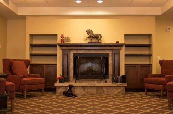 Fireplace at Joshua Springs Senior Living