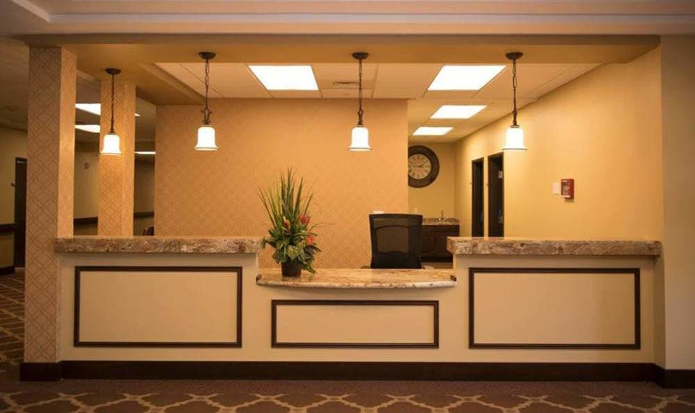 Inviting front desk at Joshua Springs Senior Living in Bullhead City.