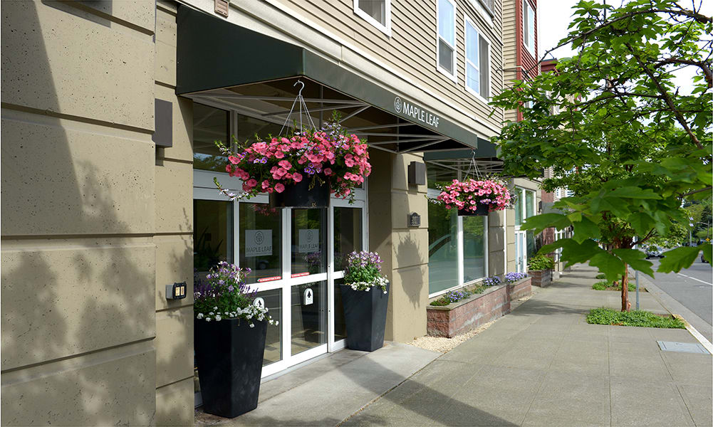A warm, inviting entrance at  Maple Leaf Assisted Living & Memory Care  in Seattle.