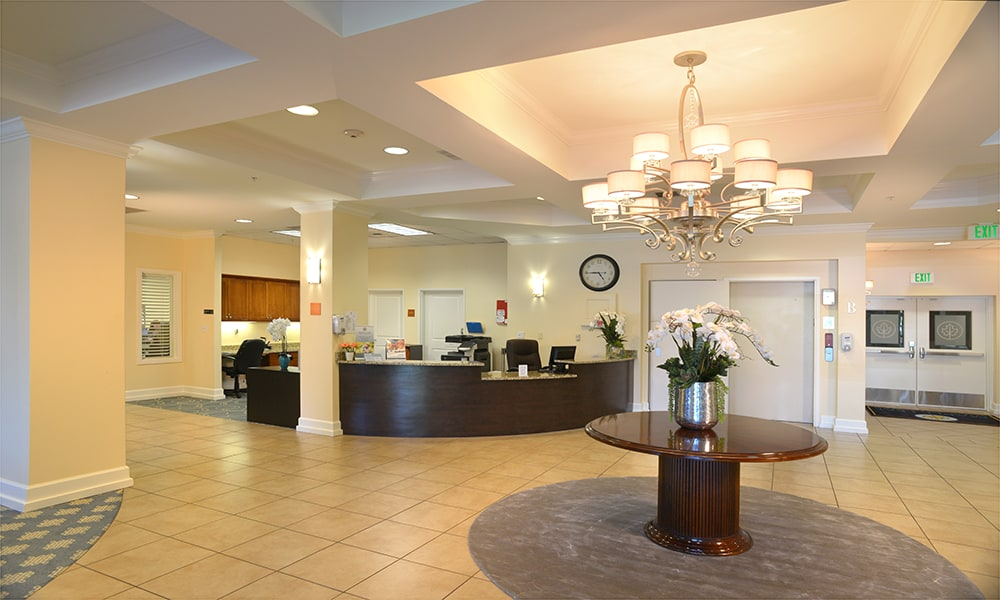 Inviting lobby at  Maple Leaf Assisted Living & Memory Care  in Seattle.