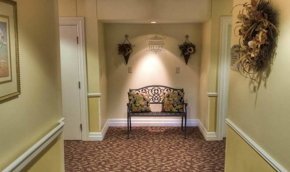 Hallway Seating Area at Pheasant Ridge Senior Living in Roanoke.