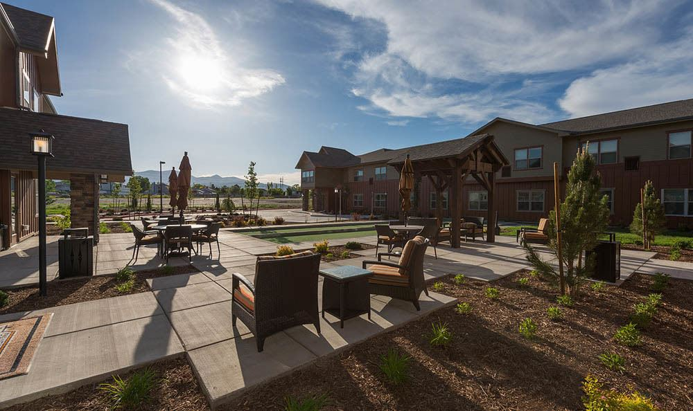 Outdoor Patio Area At Summit Senior Living in Salt Lake City.