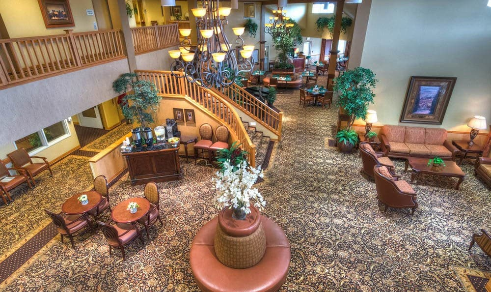 Aerial view of lobby at Bishop Place Senior Living in Pullman