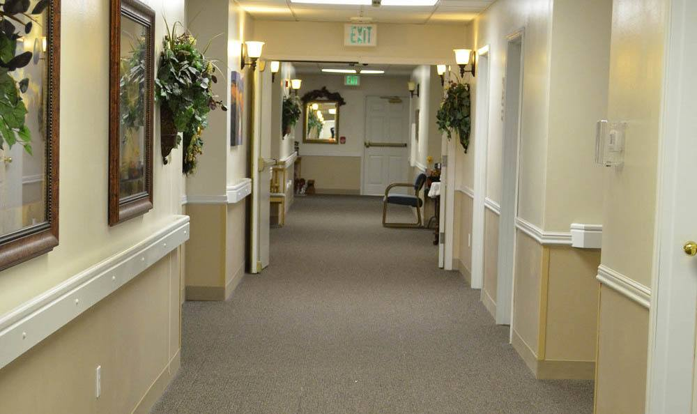 Bright Hallway at Cascade Valley Senior Living.