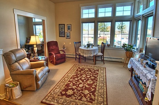Apartment living room at Chandler's Square Retirement Community