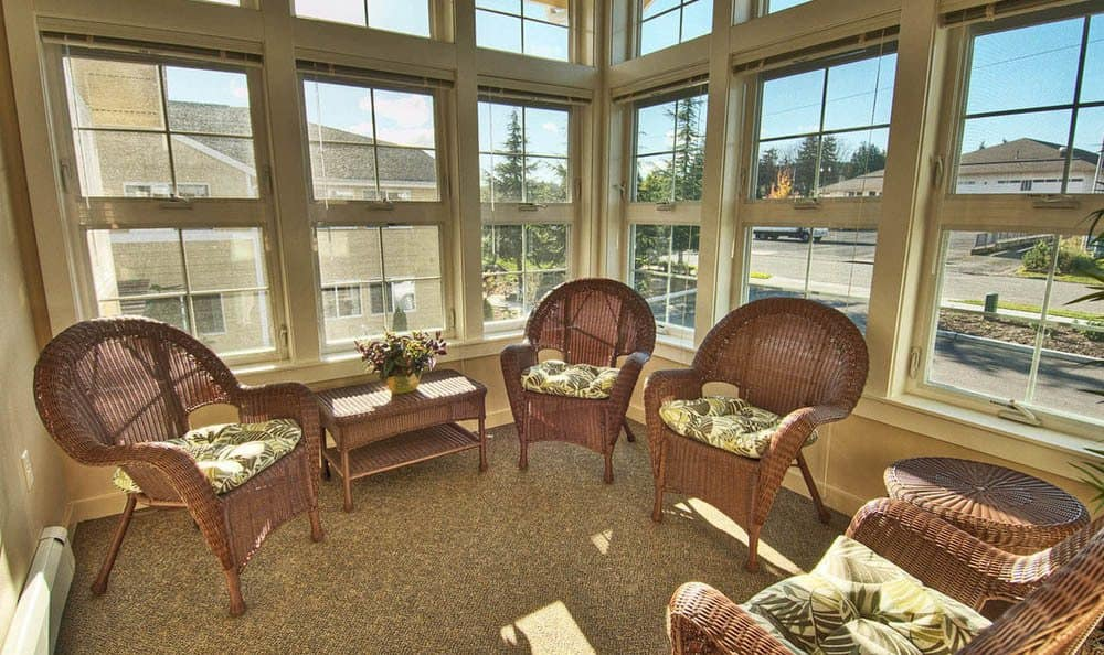Lobby seating area At Chandler's Square Retirement Community.