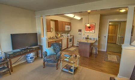 Apartment interior at Chandler's Square Retirement Community in Anacortes
